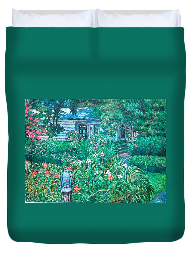 Landscape Duvet Cover featuring the painting House on Chesterbrook Road in McLean by Kendall Kessler