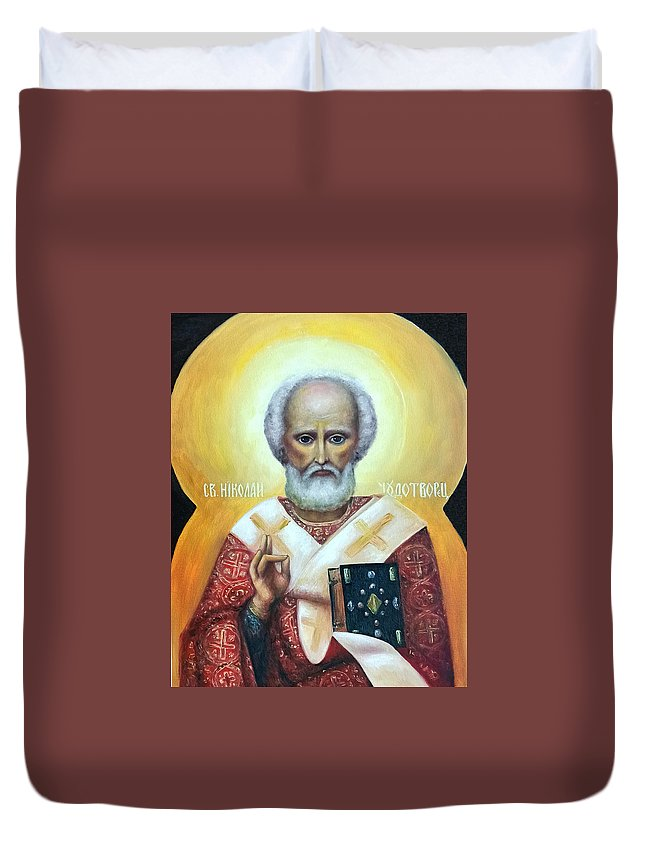 Religion Duvet Cover featuring the painting icon of St Nicholas the Wonderworker by Natalja Picugina