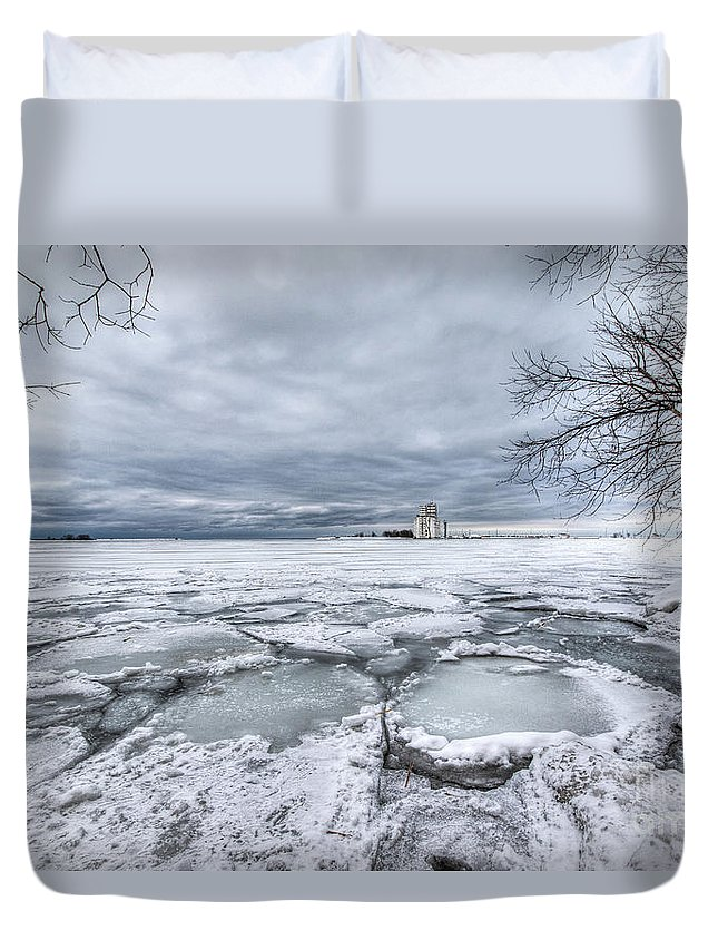 Ice Duvet Cover featuring the photograph Icy Georgian Bay by Eden Watt