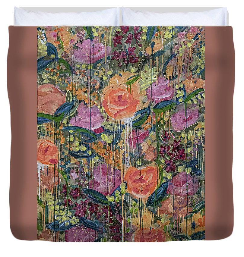 English Garden Duvet Cover featuring the painting In The Garden by Amanda Armstrong