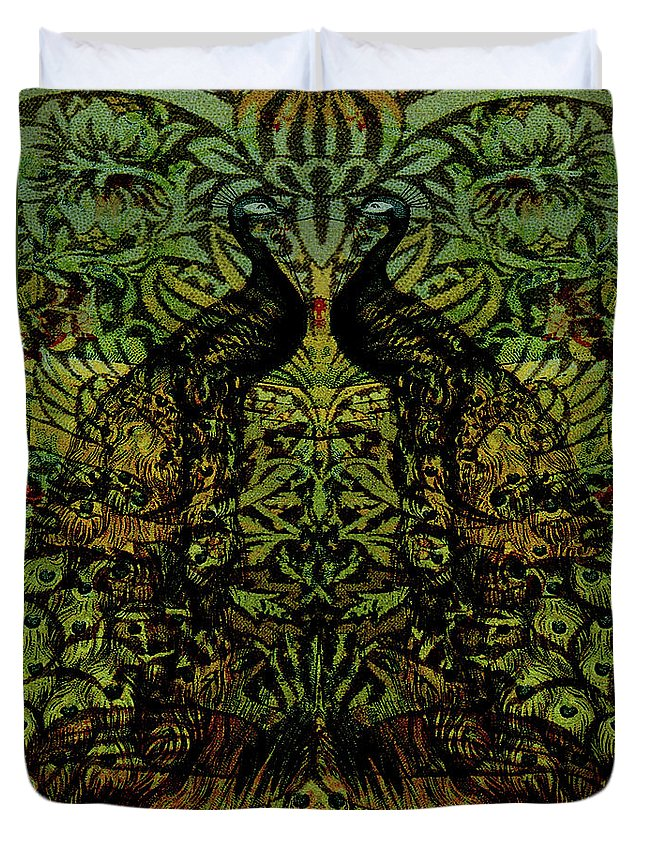 Peafowls Duvet Cover featuring the digital art Indian Blue Peafowl Pattern by Sarah Vernon
