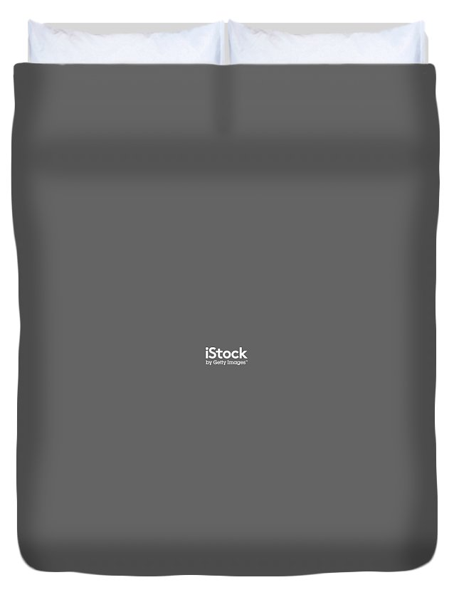 Duvet Cover featuring the digital art iStock White Logo by Getty Images