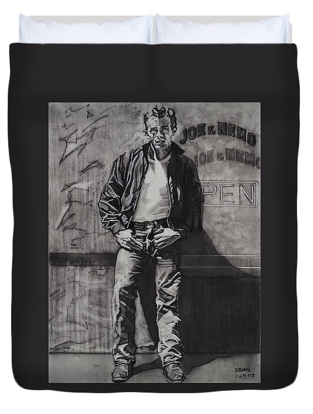 Charcoal On Paper Duvet Cover featuring the drawing James Dean by Sean Connolly