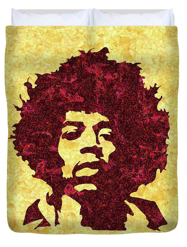 Jimi Hendrix Print Duvet Cover featuring the mixed media Jimi Hendrix Print, Jimi Hendrix Poster, Rock Music Lovers Gift by Irina Pospelova