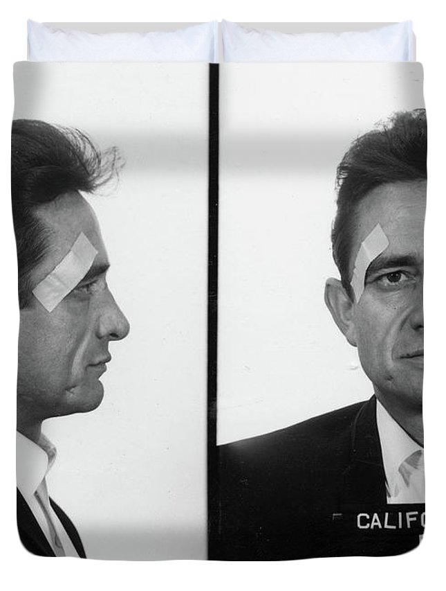 Johnny Cash Duvet Cover featuring the painting Johnny Cash Mug shot by Historical Photo