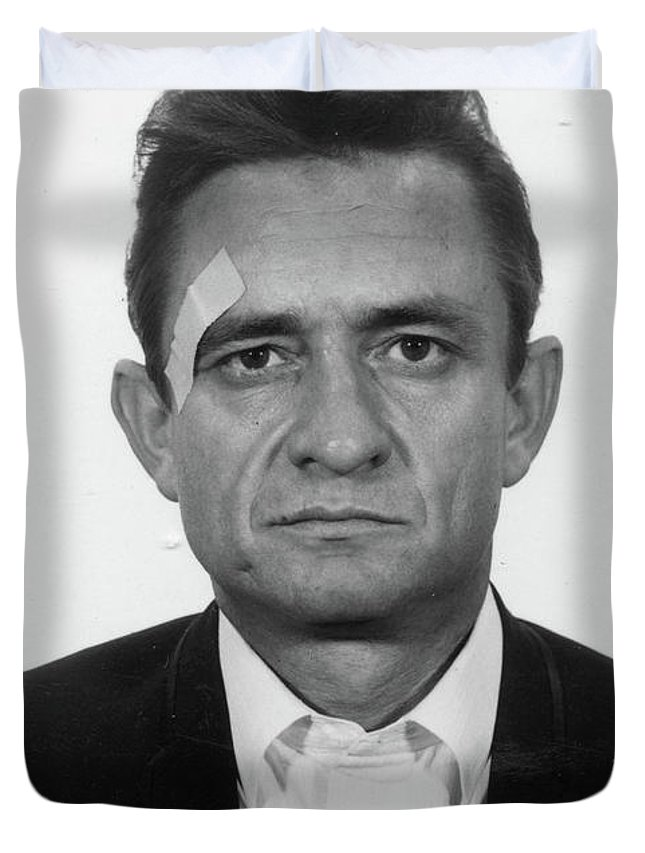 Johnny Cash Duvet Cover featuring the painting Johnny Cash Mugshot by Historical Photo