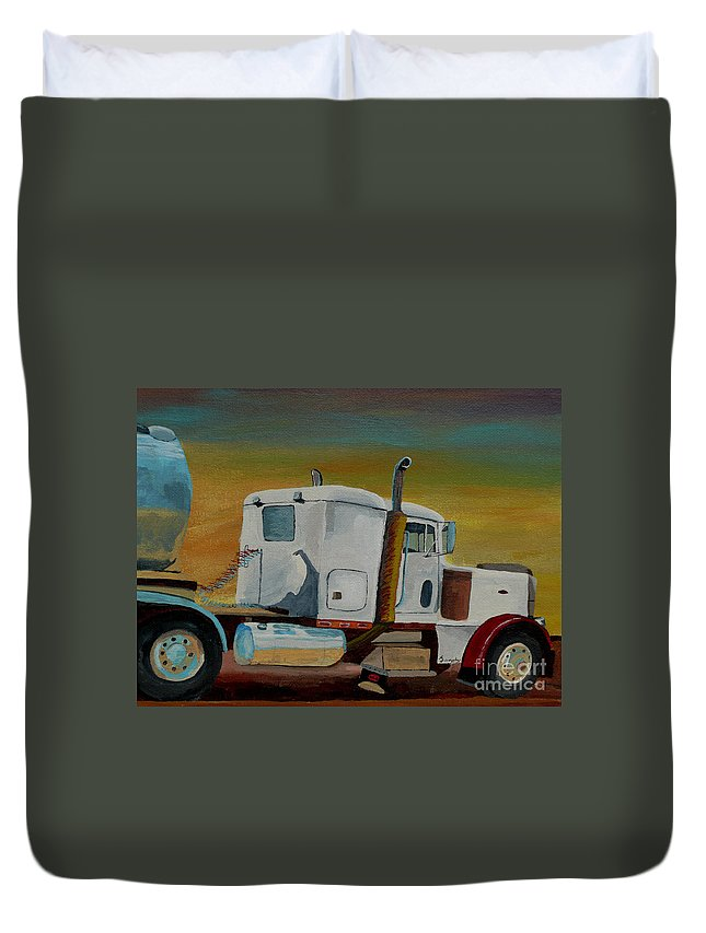 Truck Duvet Cover featuring the painting King of the Road by Anthony Dunphy