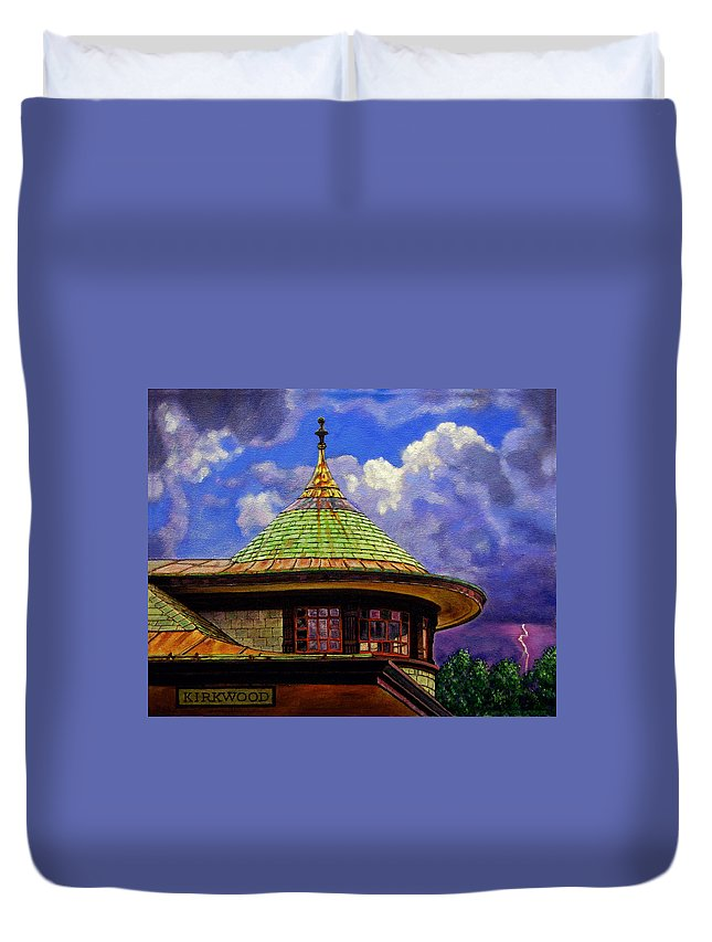 Kirkwood Duvet Cover featuring the painting Kirkwood Train Station by John Lautermilch