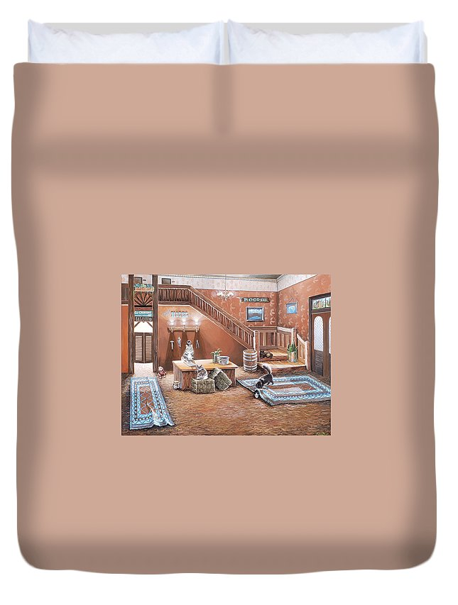 Cats In A Hotel Duvet Cover featuring the painting Kitty Hotel by Jennifer McDuffie