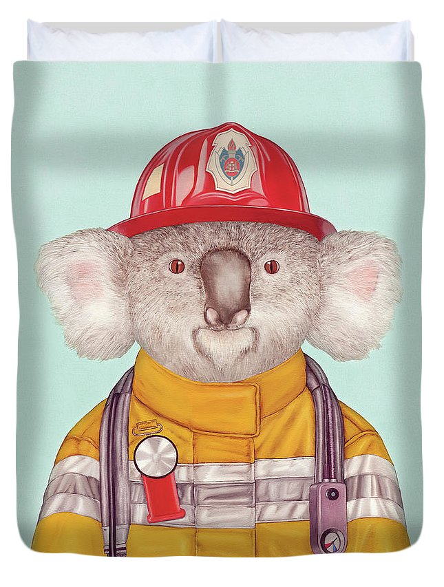 Duvet Cover featuring the painting Koala Firefighter by Animal Crew