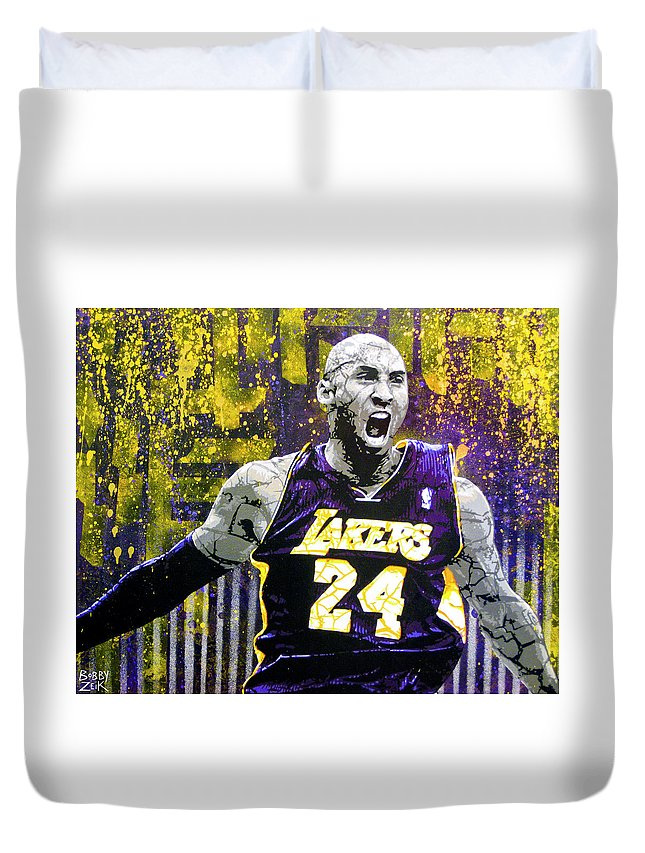 Kobe Duvet Cover featuring the painting Kobe The Destroyer by Bobby Zeik