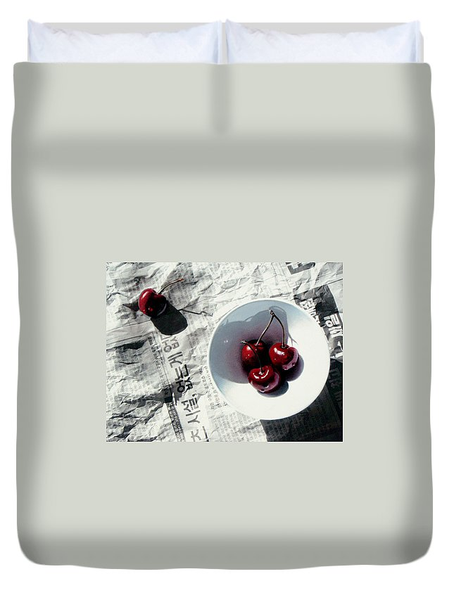 Cherries Duvet Cover featuring the painting Korean Cherries by Dianna Ponting