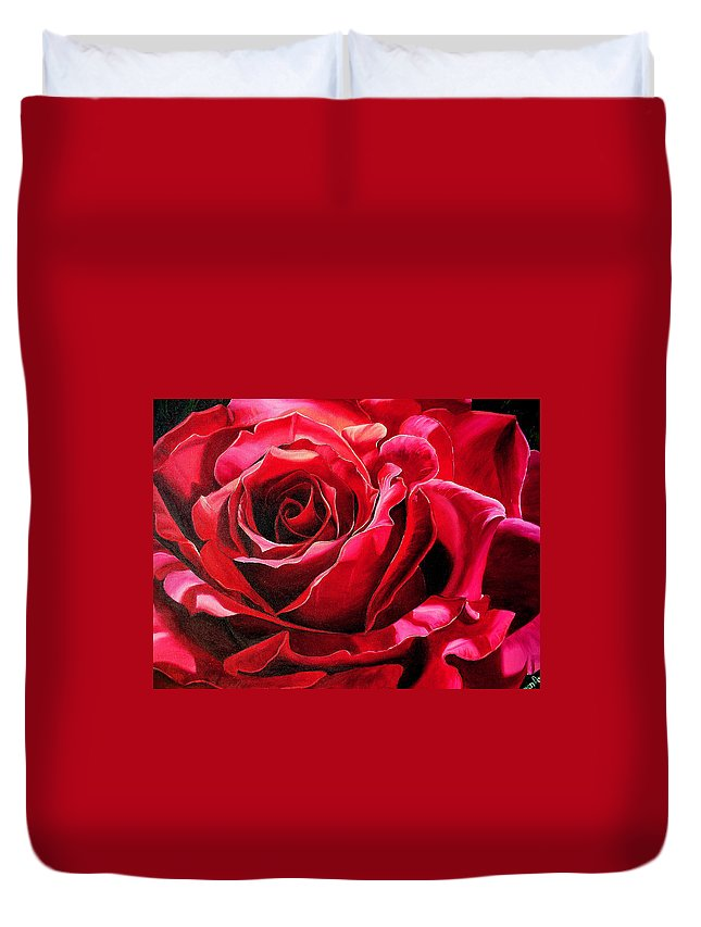 Rose Painting Duvet Cover featuring the painting Labelle Rose    by Karin Dawn Kelshall- Best