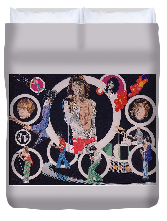 The Rolling Stones Duvet Cover featuring the drawing Ladies And Gentlemen - The Rolling Stones by Sean Connolly
