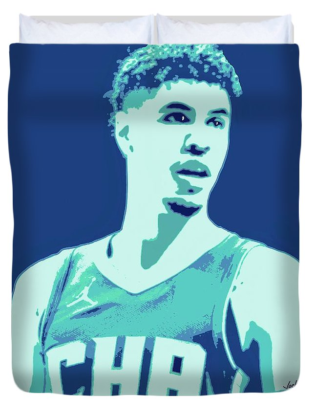 Lamelo Duvet Cover featuring the painting LaMelo Ball by Jack Bunds
