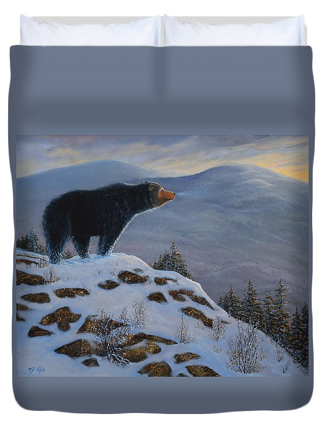 Wildlife Duvet Cover featuring the painting Last Look Black Bear by Frank Wilson