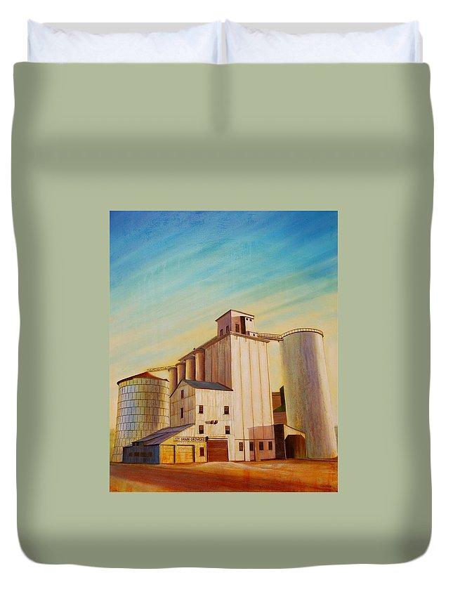 Grain Duvet Cover featuring the painting Latah County Grain Growers by Leonard Heid