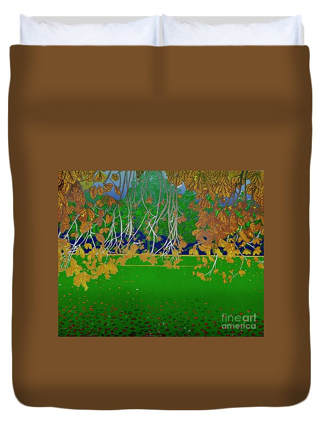 Landscape Duvet Cover featuring the mixed media Late Summer by Jarle Rosseland
