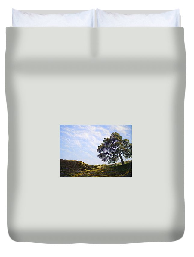 Landscape Duvet Cover featuring the painting Lava Rock And Flowers by Frank Wilson