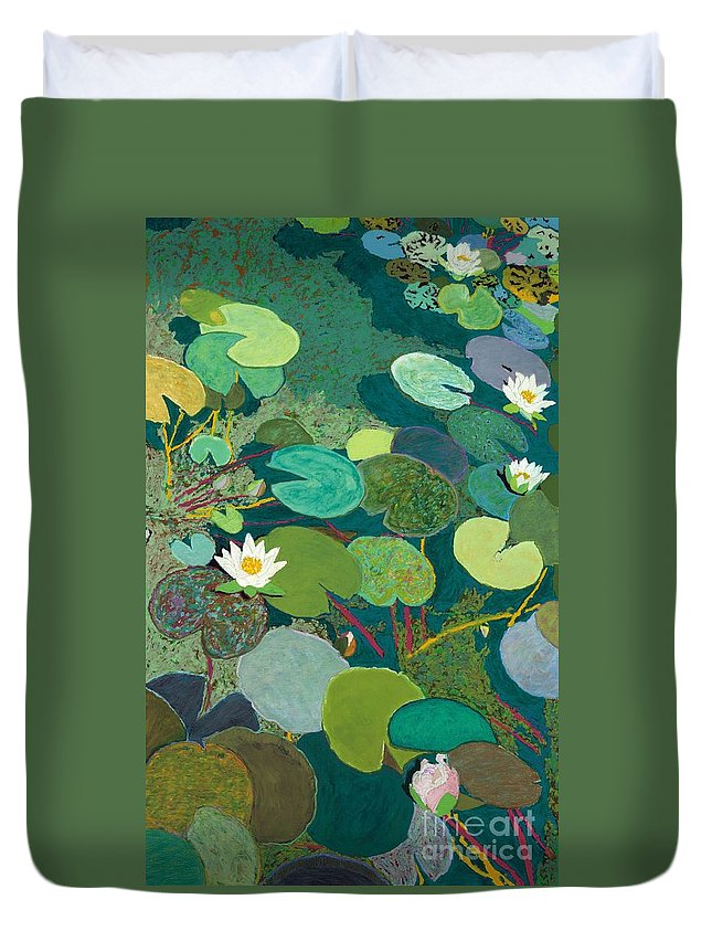 Landscape Duvet Cover featuring the painting Lazy Pond by Allan P Friedlander