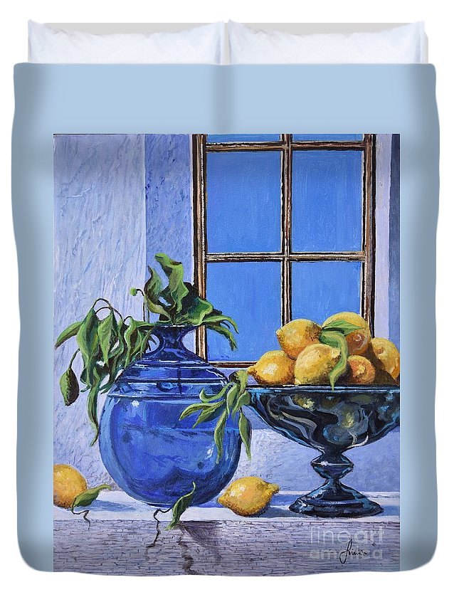 Original Painting Duvet Cover featuring the painting Lemons by Sinisa Saratlic
