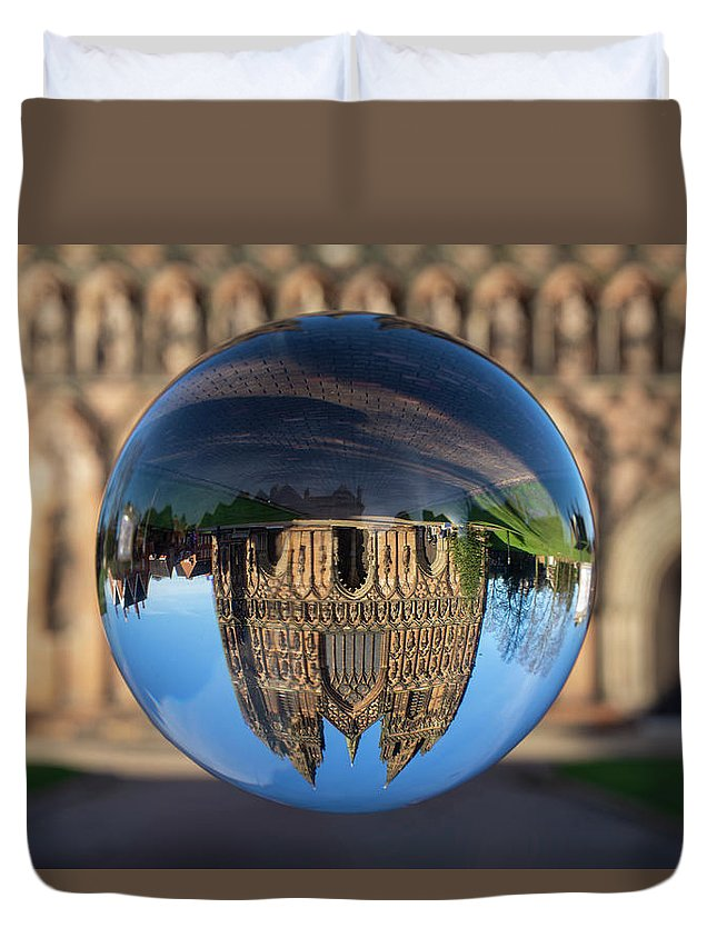 Lichfield Duvet Cover featuring the photograph Lichfield lens ball by Steev Stamford
