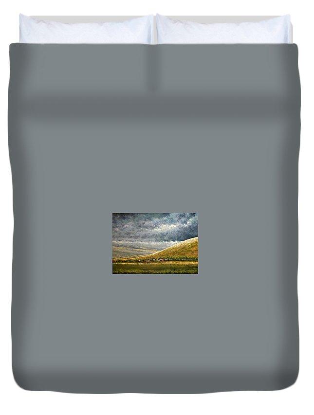 Landscape Duvet Cover featuring the painting Lightburst-Jackson Hole by Jim Gola