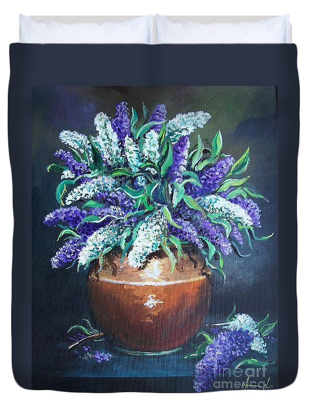 Original Painting Duvet Cover featuring the painting Lilac by Sinisa Saratlic
