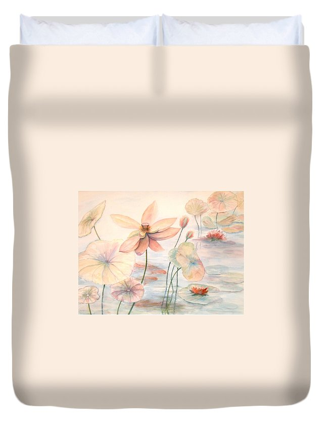 Lily Pads And Lotus Blossoms Duvet Cover featuring the painting Lily Pads by Ben Kiger
