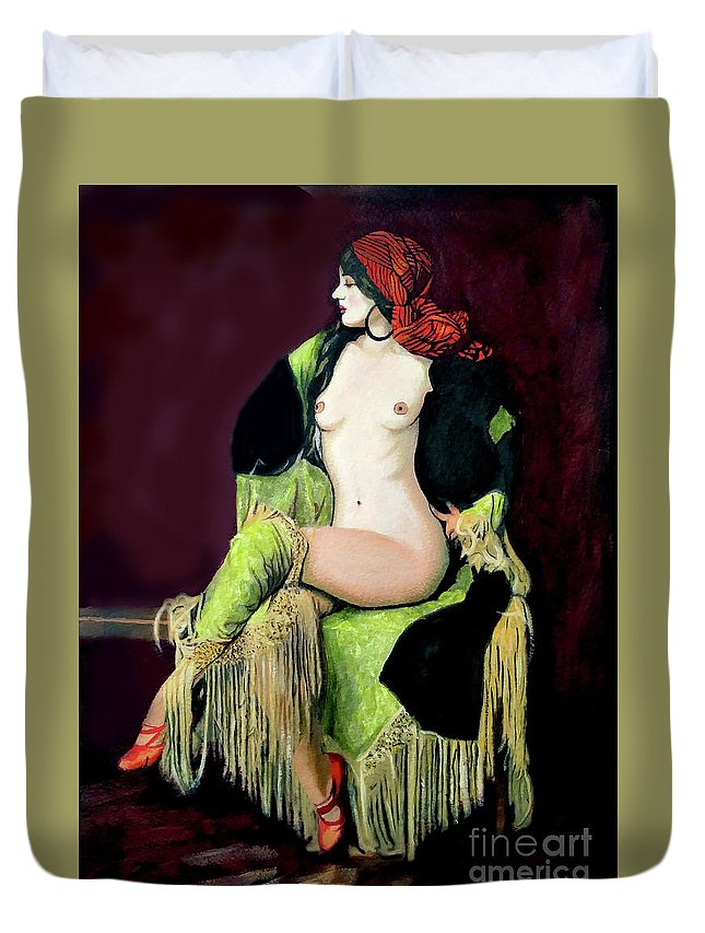 Women Duvet Cover featuring the painting Looking Good by Jose Manuel Abraham