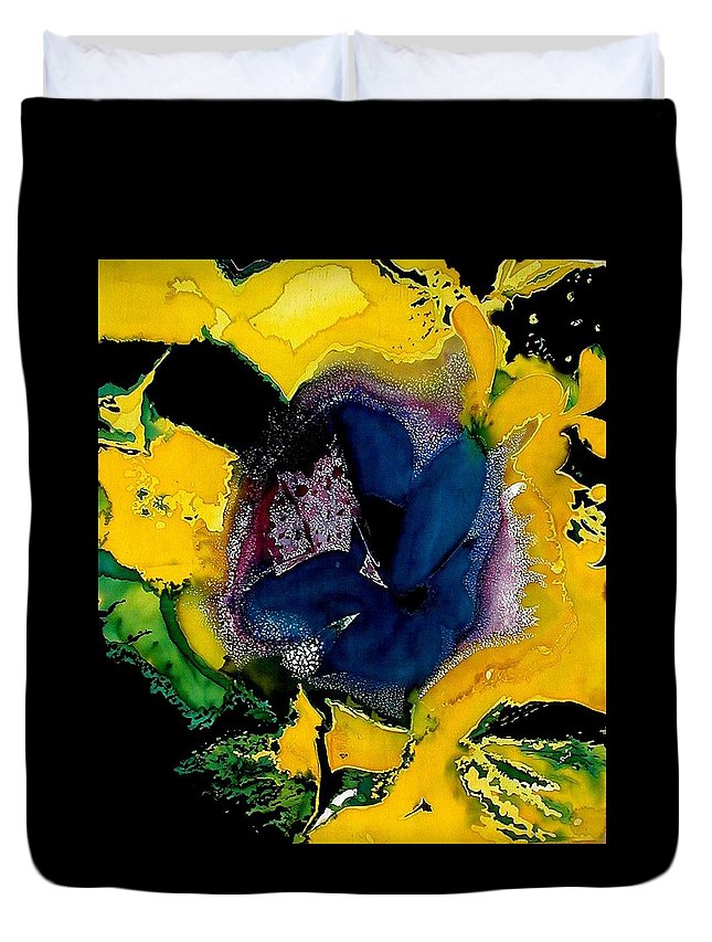 Flora Duvet Cover featuring the painting Lotus - Midnight Bloom by Ferril Nawir