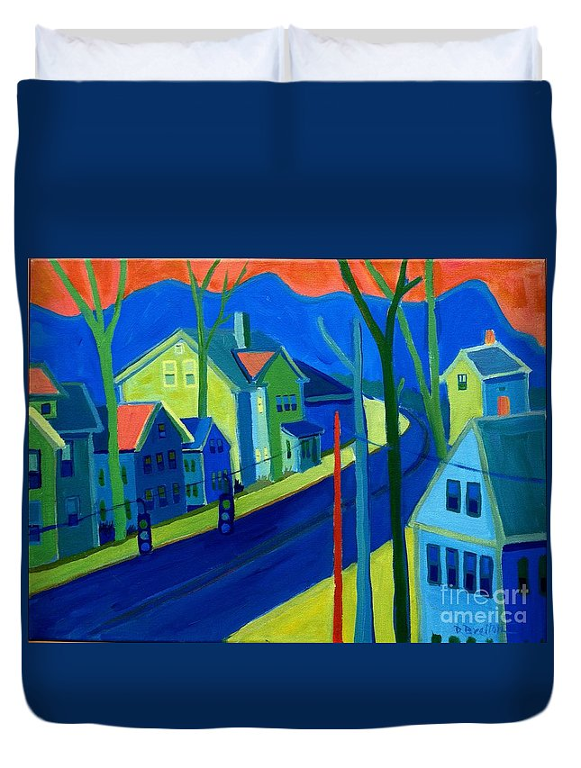 Cityscape Duvet Cover featuring the painting Lowell Deluge by Debra Bretton Robinson