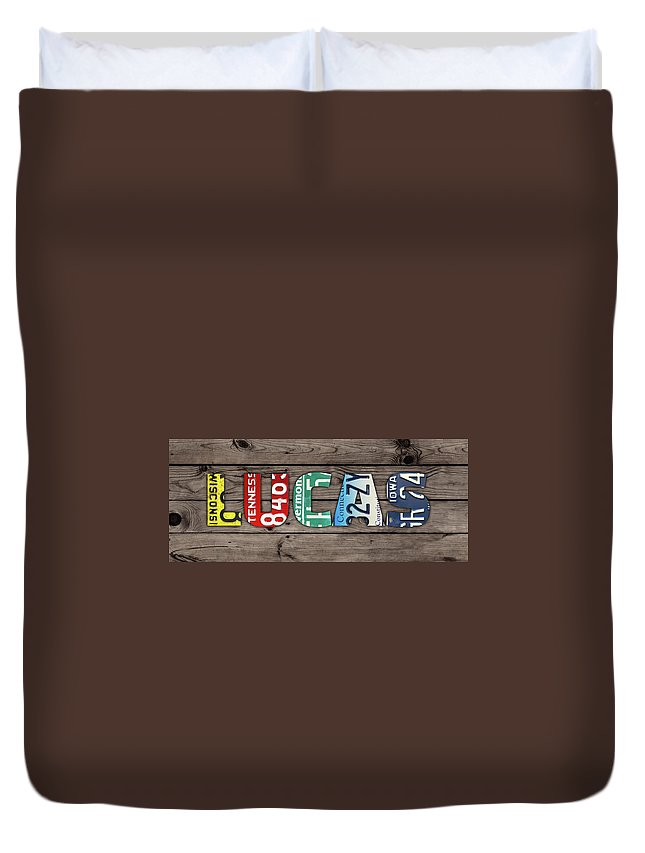 Lucas Duvet Cover featuring the mixed media Lucas Name Vintage License Plate Art Lettering Sign by Design Turnpike