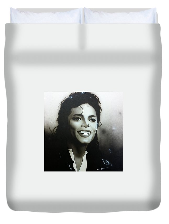 Michael Jackson Duvet Cover featuring the painting M. J. by Christian Chapman Art