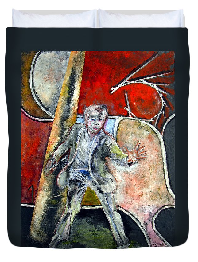 Male Duvet Cover featuring the painting Mad World by Tom Conway