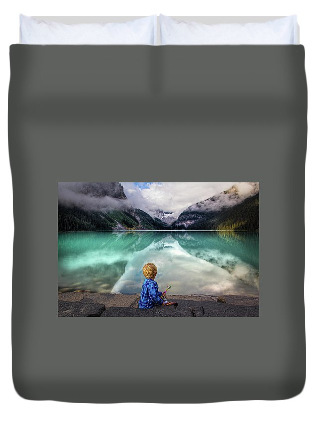 Lake Louise Duvet Cover featuring the photograph Magic at Lake Louise by Eden Watt