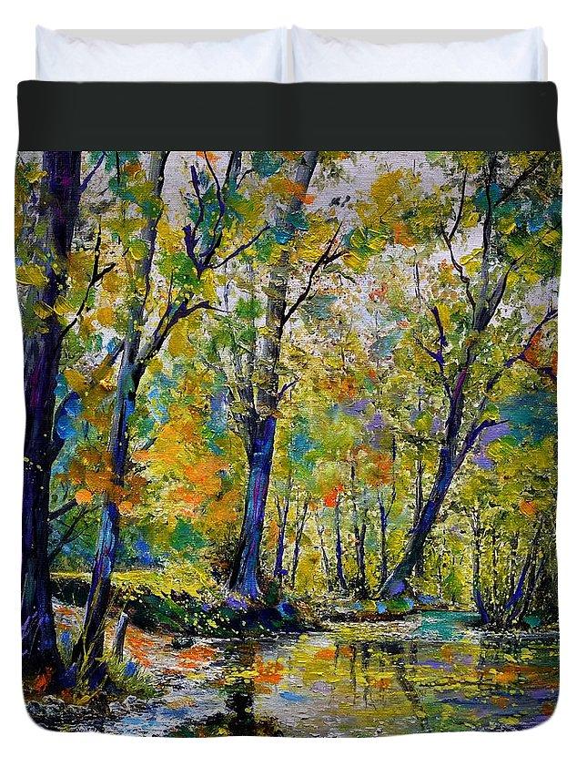 Landscape Duvet Cover featuring the painting Magic river by Pol Ledent