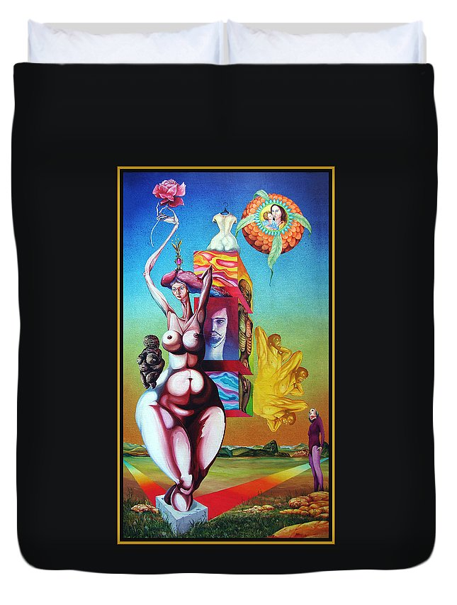 Surrealism Duvet Cover featuring the painting Magna Mater by Otto Rapp