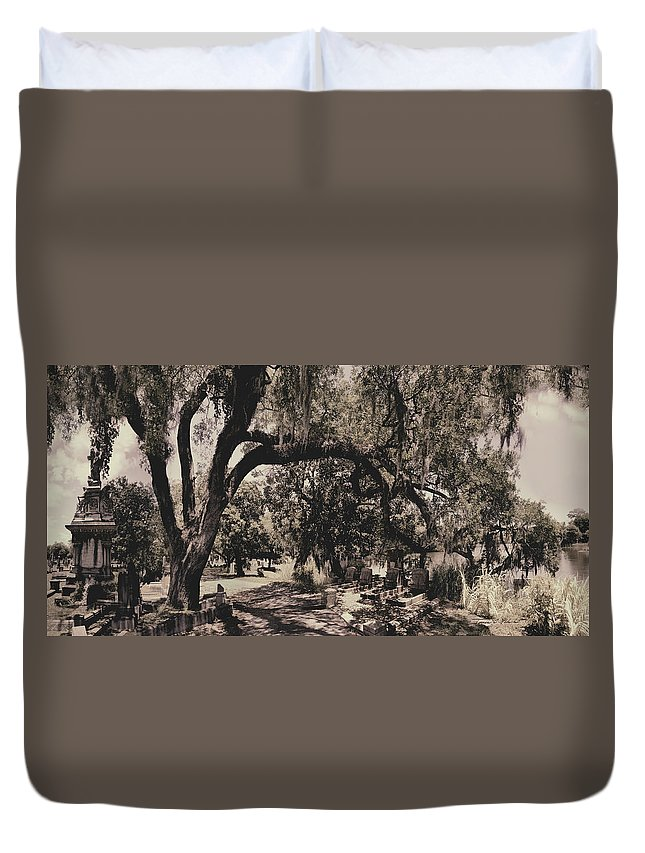 Castle Duvet Cover featuring the photograph Magnolia Cemetery by James Christopher Hill