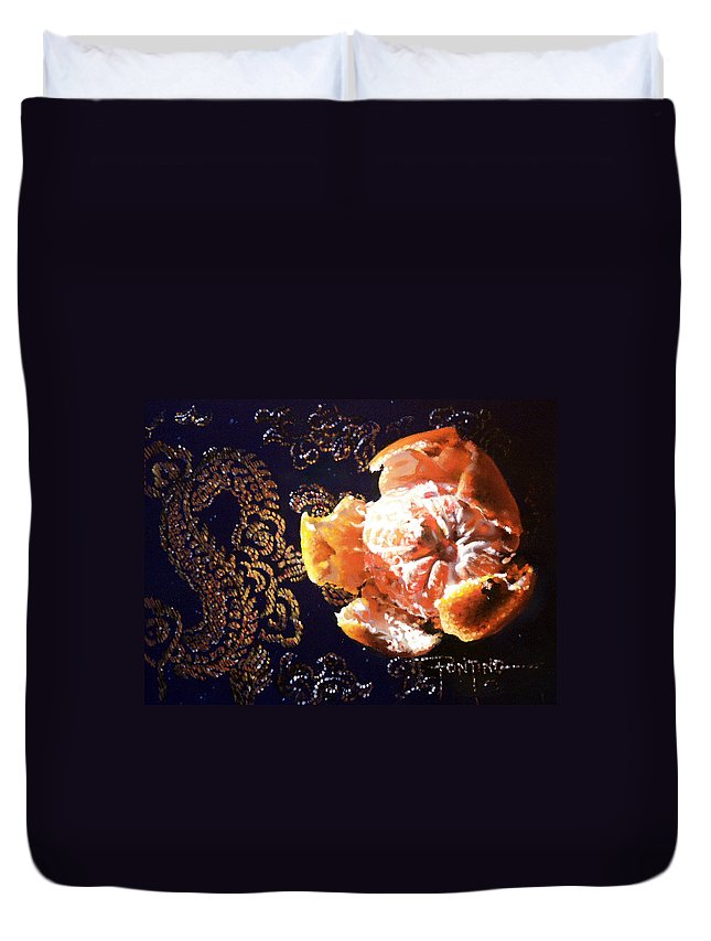 Mandarin Duvet Cover featuring the painting Mandarin by Dianna Ponting