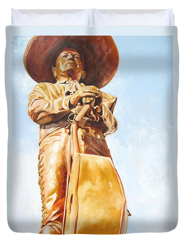 Mariachi Duvet Cover featuring the painting Mariachi by Laura Pierre-Louis