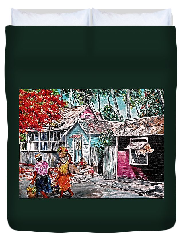 Market Women Painting Barbados Painting Islands Painting  Poinciana Painting Houses Painting Poinciana Painting Caribbean Painting Tropical Painting Duvet Cover featuring the painting Marketday Barbados by Karin Dawn Kelshall- Best