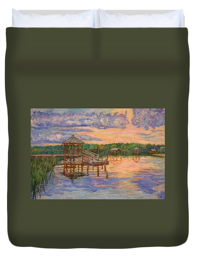 Landscape Duvet Cover featuring the painting Marsh View at Pawleys Island by Kendall Kessler
