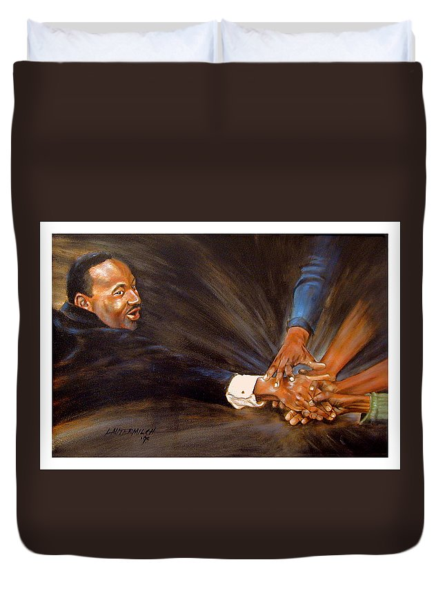 Martin Luther King Duvet Cover featuring the painting Martin Luther King by John Lautermilch