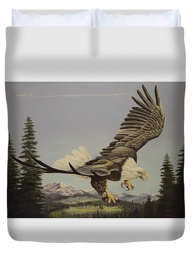 Landscape Duvet Cover featuring the painting Masters of the Sky by Wanda Dansereau