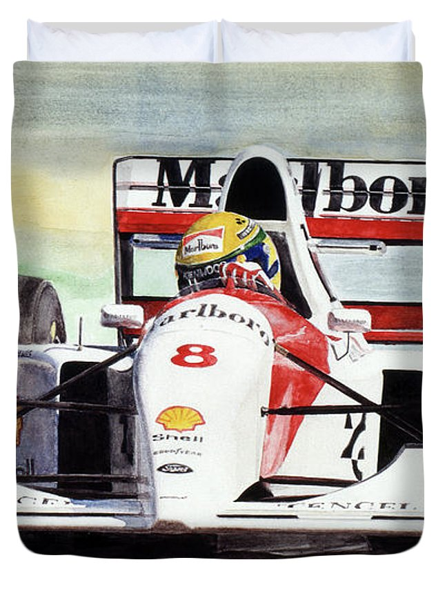 Formula One Duvet Cover featuring the painting Memories And Feelings by Oleg Konin