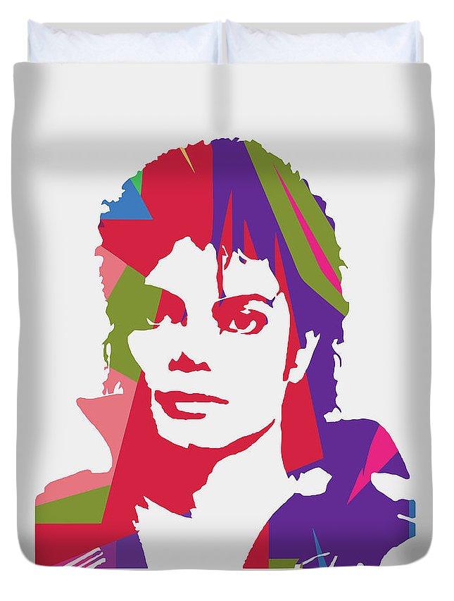Michael Jackson Duvet Cover featuring the digital art Michael Jackson 2 POP ART by Ahmad Nusyirwan