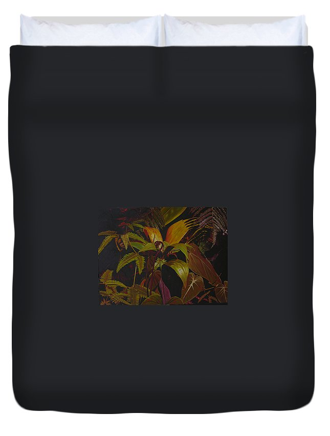 Plant Duvet Cover featuring the painting Midnight in the garden by Thu Nguyen