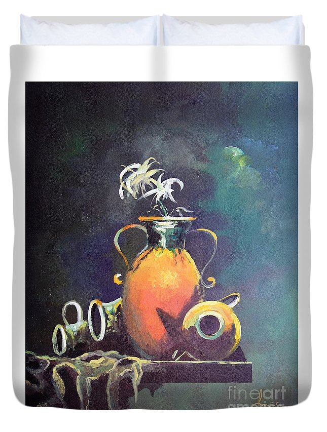 Still Life Duvet Cover featuring the painting Midnight Moon by Sinisa Saratlic