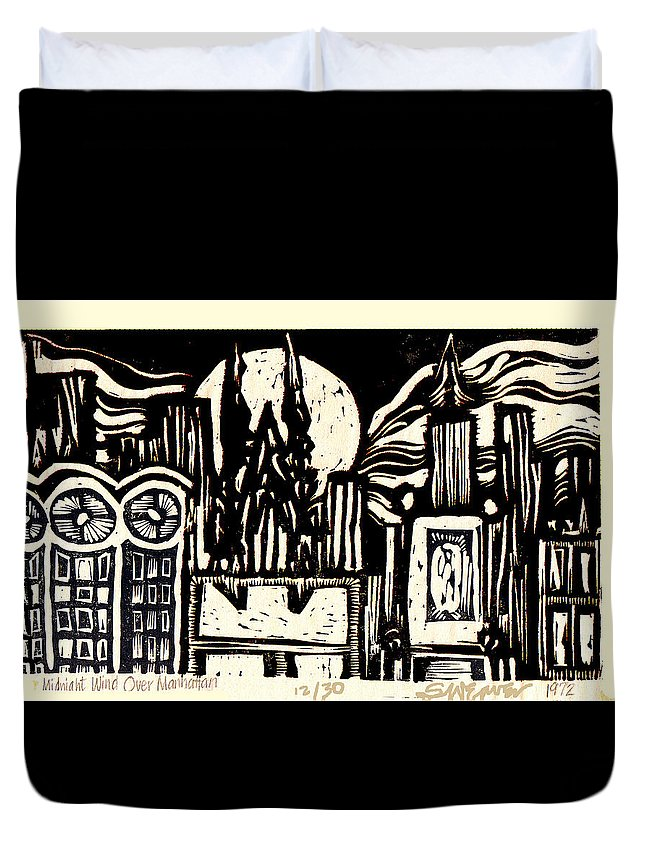 Bizarre Duvet Cover featuring the mixed media Midnight Wind Over Manhattan by Seth Weaver